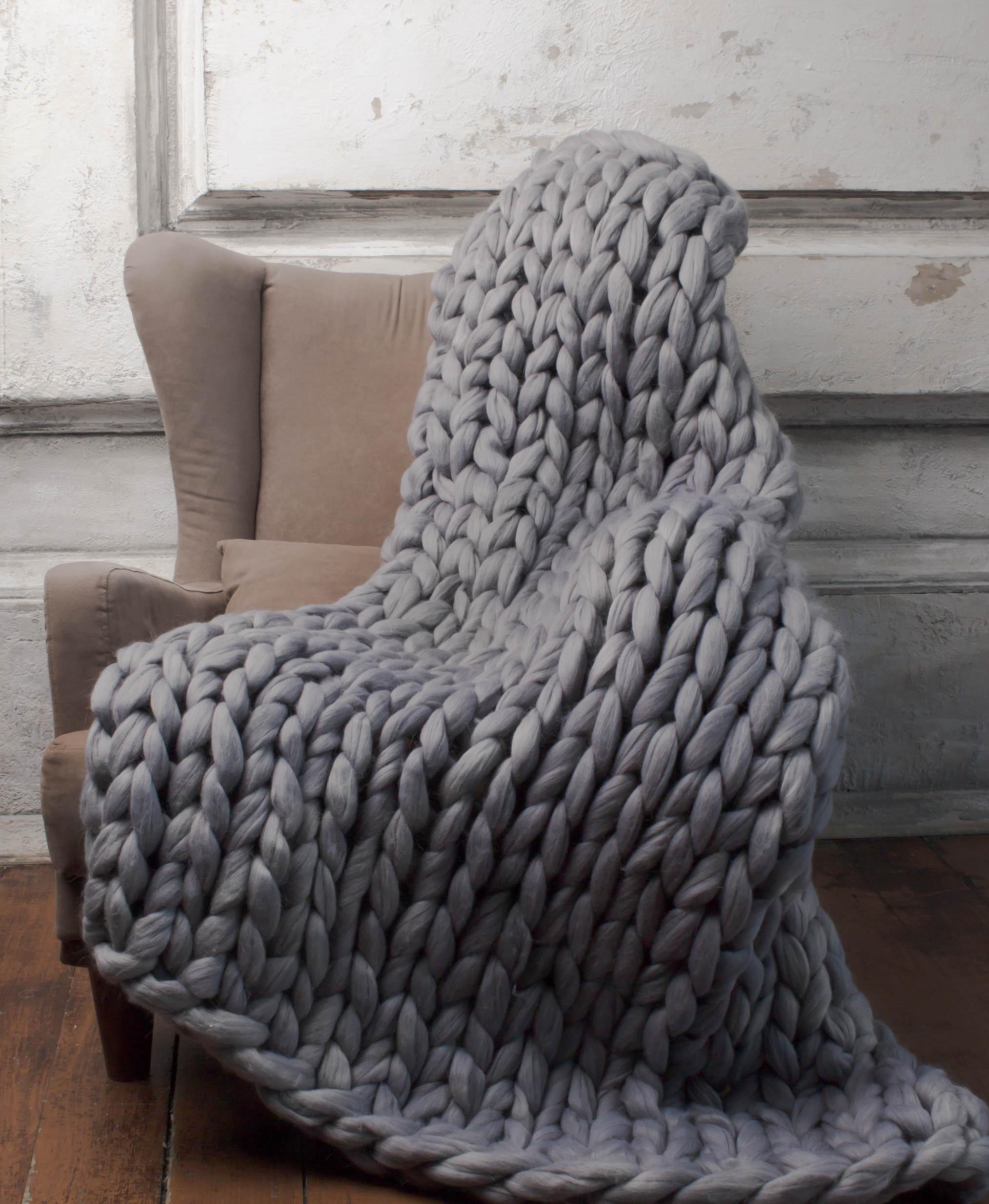 толстый плед крупной вязки как связать детское одеяло своими руками